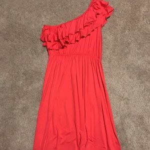 New Coral One Shoulder Dress Size Small